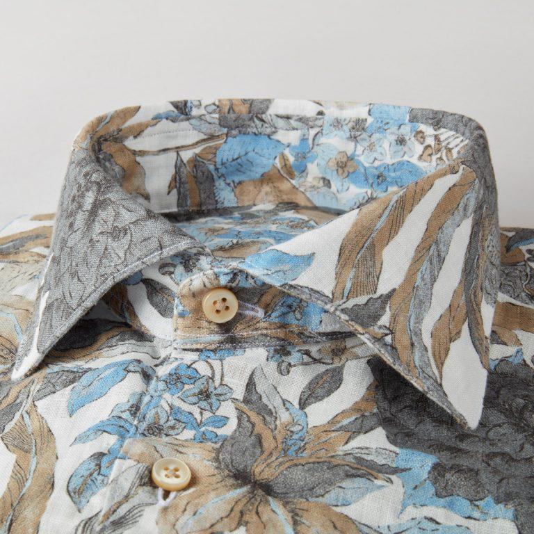 Fitted Linskjorte – Hvit med mønster