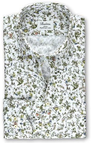 Slimline skjorte med blomster – Hvit