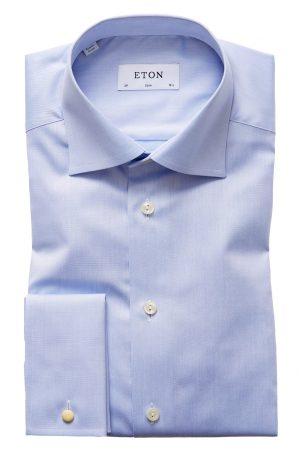Dobbel mansjett Standard Slimskjorte – Lyseblå